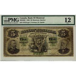 The Bank of Montreal 1888 $5 27374 CH-505-38-02 PMG F12