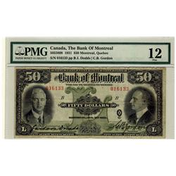 The Bank of Montreal 1931 $50 016133 CH505-58-08 PMG F12