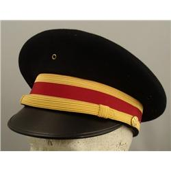 VINTAGE ARMY OFFICERS GRADE VISOR HAT-GOLD BRAID 7 CHIN