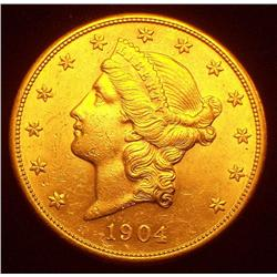 1904-S $20 Gold Liberty Coin PCGS MS-62