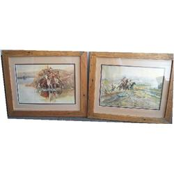 Framed Russell Prints (two)