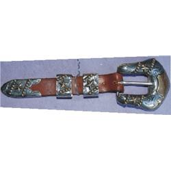 4 piece silver ranger buckle set