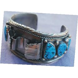 Navajo turquoise/silver watch band