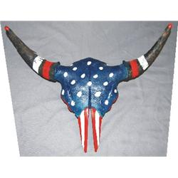 """Colorful painted buffalo skull """"Pony Soldier"""""""