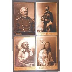 (4) early cabinet cards, Indian and Military
