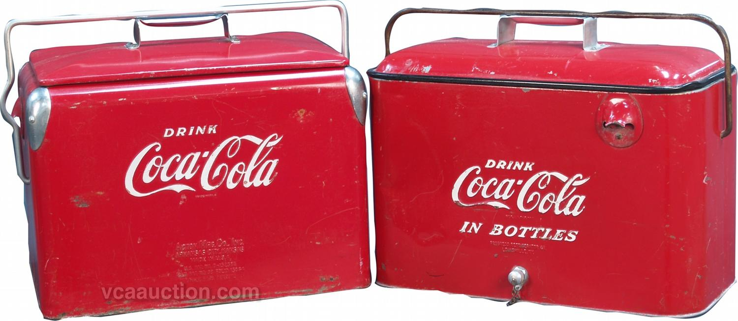 Image 1 Lot Of 2 Vintage Embossed Metal Coca Cola Picnic Cooler