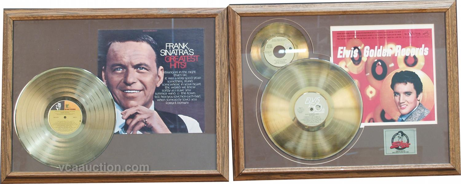 image 1 lot of 2 gold record album display frames