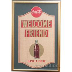 Welcome Friend  Coca Cola Die-Cut Cardboard Sign c1947