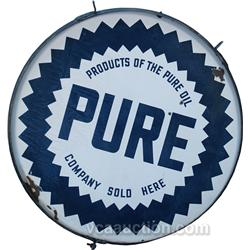 "Large ""PURE"" Round Double Sided Porcelain Sign"