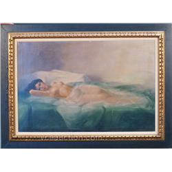 Signed Painting Calio - Nude Lady Laying On Bed