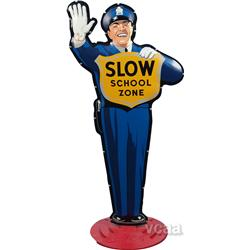 Coca Cola  Slow School Zone  Tin Traffic Cop Figure