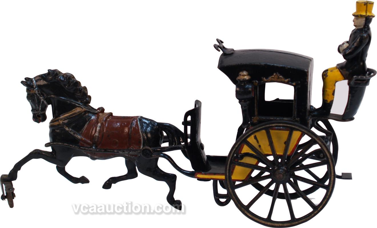 Antique Cast-Iron Hanson Horse Drawn Cab Carriage c1880