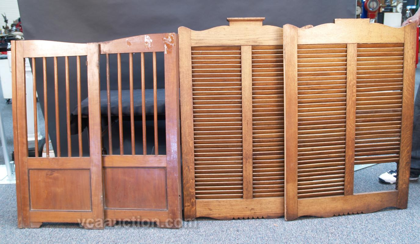 Lot Of 2 Early Pairs Of Wooden Swinging Saloon Doors Loading zoom & Lot Of 2 Early Pairs Of Wooden Swinging Saloon Doors: