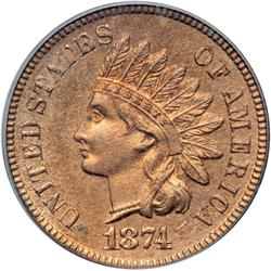 1874 Indian Head 1C PF65 RD