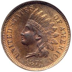 1874 Indian Head 1C NGC MS65