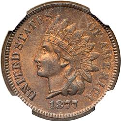 1877 Indian Head 1C NGC MS65 RB