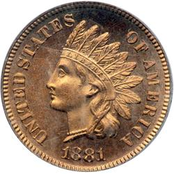 1881 Indian Head 1C PCGS PF66 RD