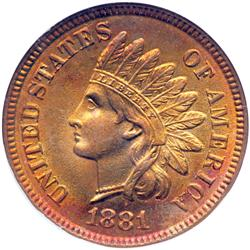 1881 Indian Head 1C NGC MS65