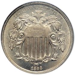 1866 Shield 5C NGC MS65