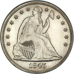 1847 Liberty Seated $1