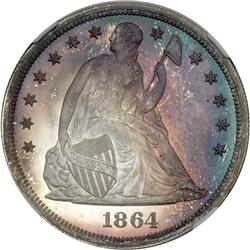 1864 Liberty Seated $1 NGC Proof 68
