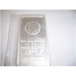 Ten Troy Oz .999 Pure Silver Bar