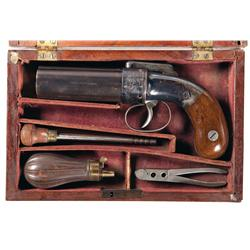 Historical Family Military Related Grouping Including Cased Allen & Wheelock Pepperbox Pistol with A