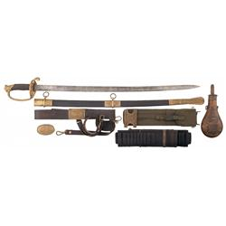1850 Pattern Staff & Field Officers Sabre with Engraved Scabbard, Sword, Cartridge Belts and a Batty
