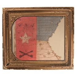 Framed Post Civil War C.S.A. Guidon
