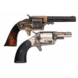 Two Antique American Revolvers -A) Scarce Eagle Arms Co. Patent Front Loading Cartridge Pocket Revol