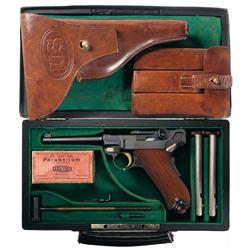 Extraordinary DWM U.S. Army Model 1900 Test Luger Pistol with U.S. Holster, Magazine Pouch, Case and