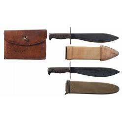 Two U.S. Marine Corps Bolo Knives and One World War One Era Cartridge Box