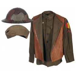 WWI U.S. Tanker Corps Uniform's Grouping with Very Rare WWI Camo Tanker's Helmet