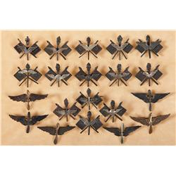 Twenty Early Army Air Service/ Signal Corps Aviation Wings, and a Aviator's Helmet and Gloves