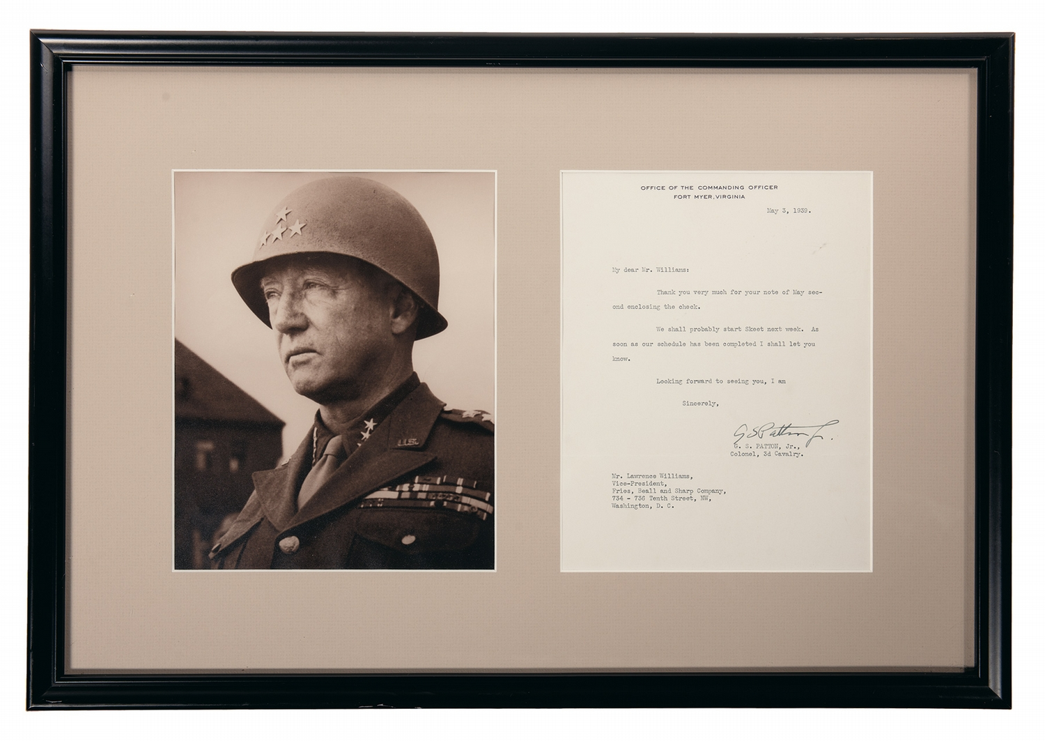 Framed Photograph and Signed Correspondence of General George S. Patton