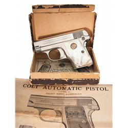 Excellent Colt Model 1908 Vest Pocket Hammerless Pistol with Pearl Grips and Colt Box