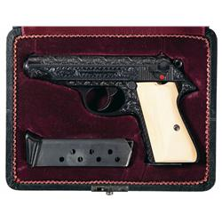 Cased and Custom Engraved Nazi Proofed Walther Model PP Semi-Automatic Pistol with Ivory Grips and E