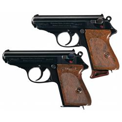 Two Walther PPK Pistols with Holsters -A) Prewar Walther PPK Semi-Automatic Pistol with Holster