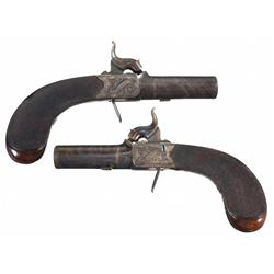 Matched Pair of Engraved Beckwith Percussion Pocket Pistols -A) Beckwith Percussion Pocket Pistol