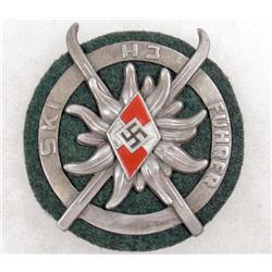 GERMAN NAZI HITLER YOUTH BADGE W/ GREEN WOOL BACKING