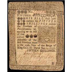 Colonial Currency, 1756 B. Franklin Printed, PA