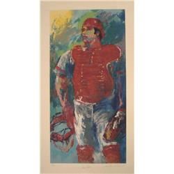 LeRoy Neiman & Johnny Bench Signed Baseball Art Print