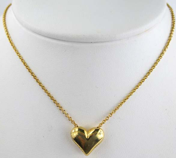 Tiffany co 18k gold heart pendant necklace image 1 tiffany co 18k gold heart pendant necklace aloadofball Image collections