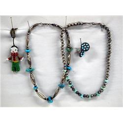 2 Navajo Necklaces, Pair Earrings, Zuni Doll