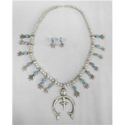 1980s Navajo Squash Blossom Necklace & Earrings