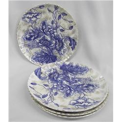 "Antique Flow Blue Luncheon Plates/4 ""Florence"" Pattern"