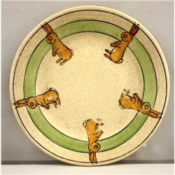Roseville Pottery Juvenile Plate, Rabbit  Pattern, 1922-25