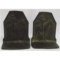 Pr Cast Bronze Indian Bookends w/Hallmark