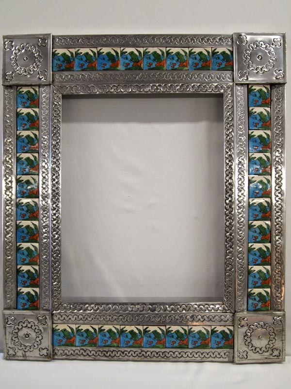 Mexican Tin And Tile Framed Mirror
