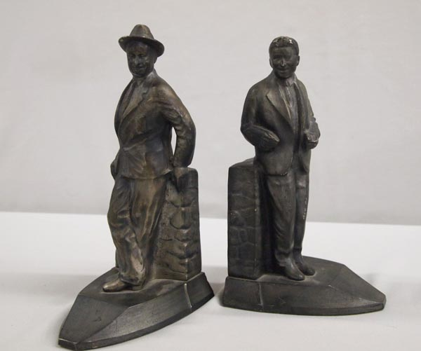 Will Rogers & Wiley Post Bookends, Cast Metal